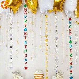Image 3 - 1 takım DIY altın/gümüş/renkli kağıt mutlu doğum günü bayrakları Garland afişler mektup çelenk bebek çocuk doğum günü parti dekorasyon