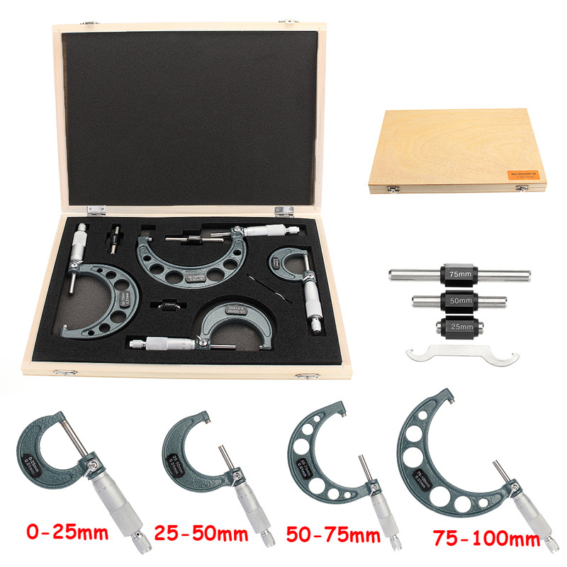 4pcs Outside Micrometer Tool Set Machinist Tool 0-4 0-100mm 4 Precision 0.01mm Accuracy Carbide Micrometer Set4pcs Outside Micrometer Tool Set Machinist Tool 0-4 0-100mm 4 Precision 0.01mm Accuracy Carbide Micrometer Set