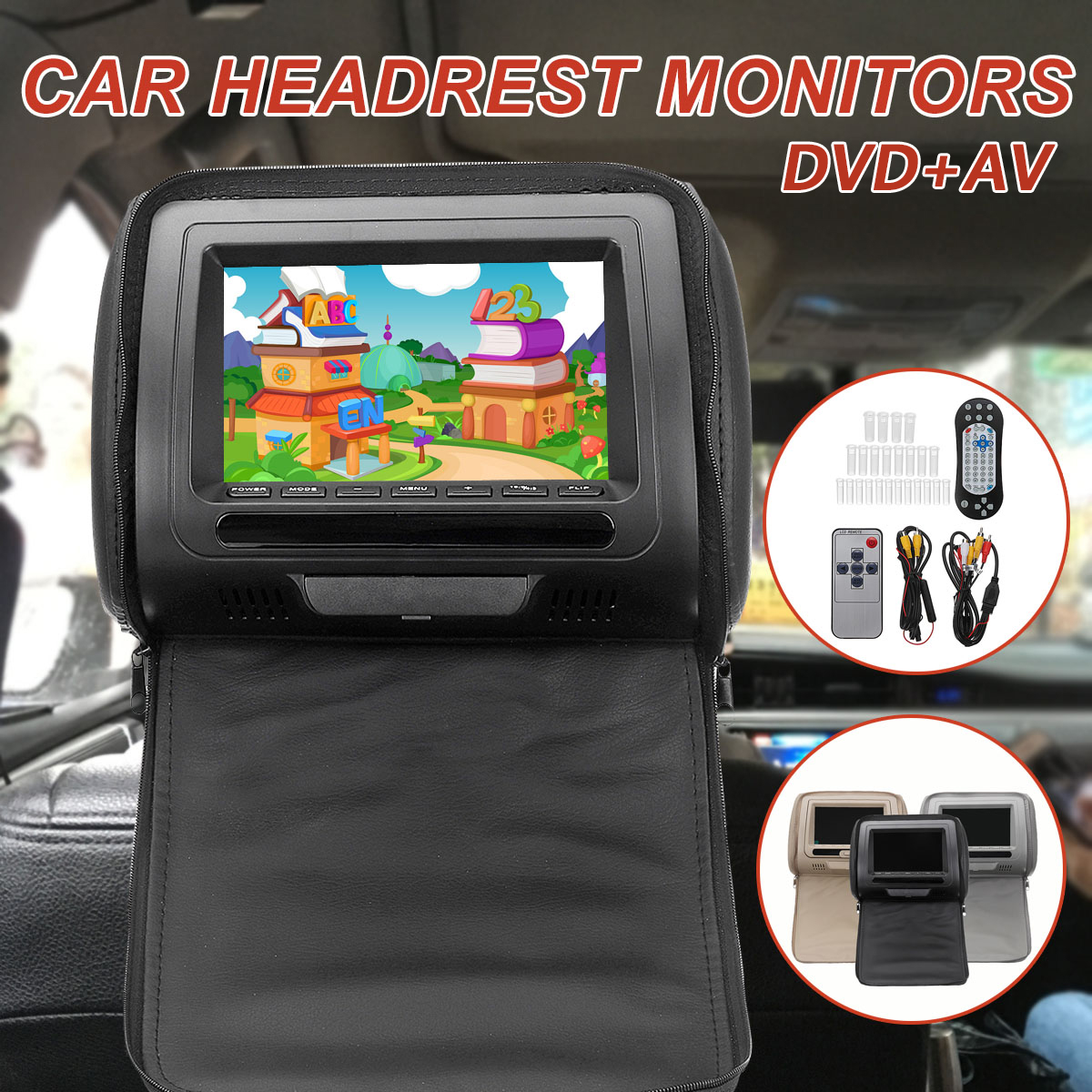 7 Inch Headrest Player DVD+ AV Monitor Digital Screen for Car Pillow Wireless Remote Control MP5 Player Monitor With Wire Kit