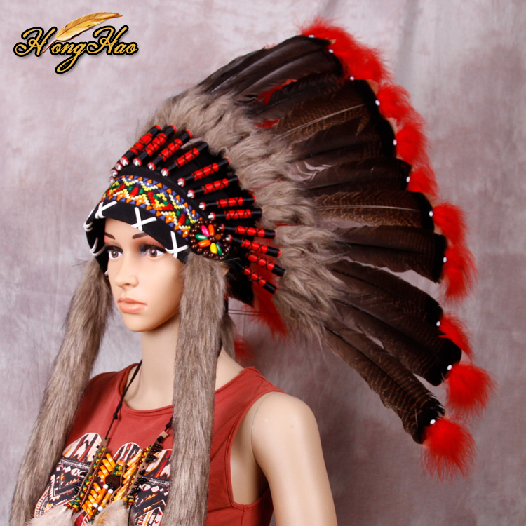 Indian Feather Headdress Handmade Red And Black Feathers Feathers Handmade Indian Feather Headdress War Bonnet Hat Costumes