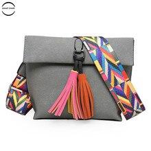 Designer Brand Women Messenger Bag Crossbody Bag Tassel Shoulder Bags Female Designer Handbags Women Bags With Colorful Strap недорго, оригинальная цена