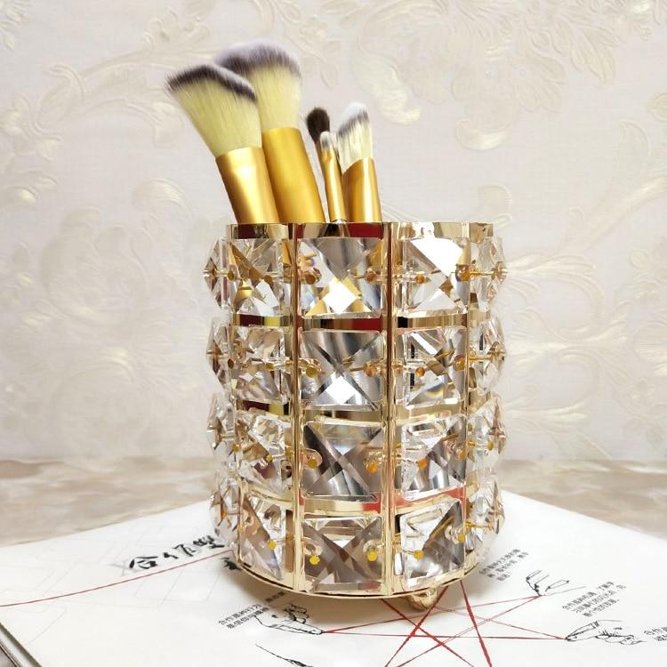 Manufacturer Direct European Crystal Makeup Brush Storage Bucket Eyebrow Pencil Comb Finishing Storage Box Sign the