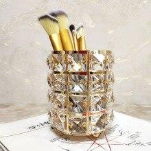Производитель прямой Европейский кристалл макияж кисточки хранения ведро карандаш для бровей гребень шкатулка с отделкой знак держатель ручки D