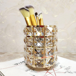 Manufacturer Direct European Crystal Makeup Brush Storage Bucket Eyebrow Pencil Comb Finishing Storage Box Sign the Pen Holder D
