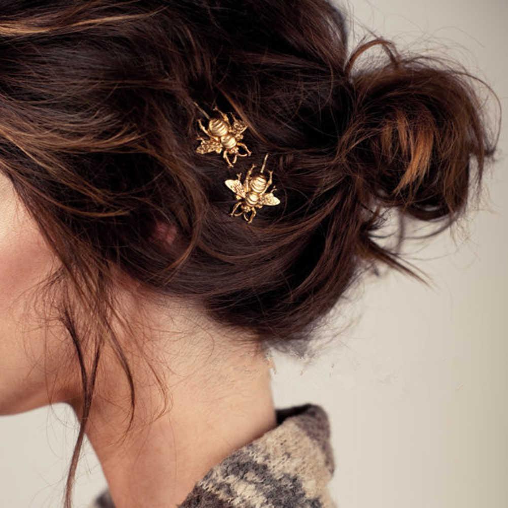 Jepit Rambut Wanita Fashion Gaya Gadis Indah Motif Bunga 2019 Baru Musim Semi Emas Lebah Jepit Rambut Sisi Clip Perak Chic Aksesoris Rambut