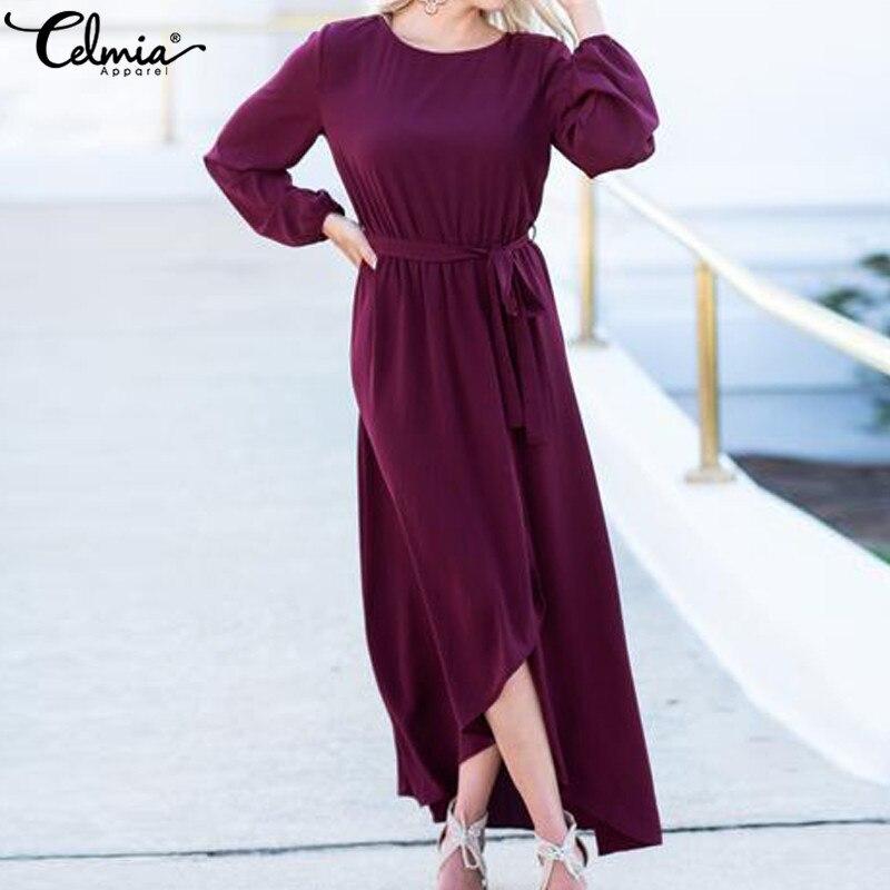 Cellia элегантное осенне-зимнее длинное платье с высоким разрезом, женское Макси-платье с длинным рукавом, вечернее платье больших размеров ...