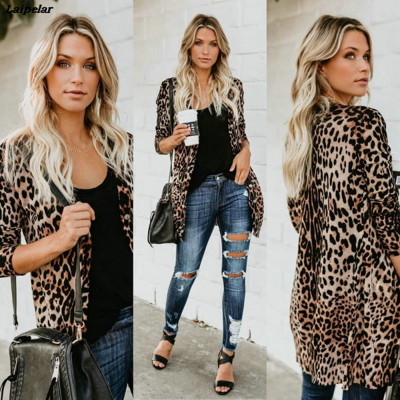 2018 Fall Fashion Coat Faux Fur Women Long V neck Sexy Slim Fit Breasted Leopard Print Club Coats Fur Woman Winter Clothes Tops in Faux Fur from Women 39 s Clothing