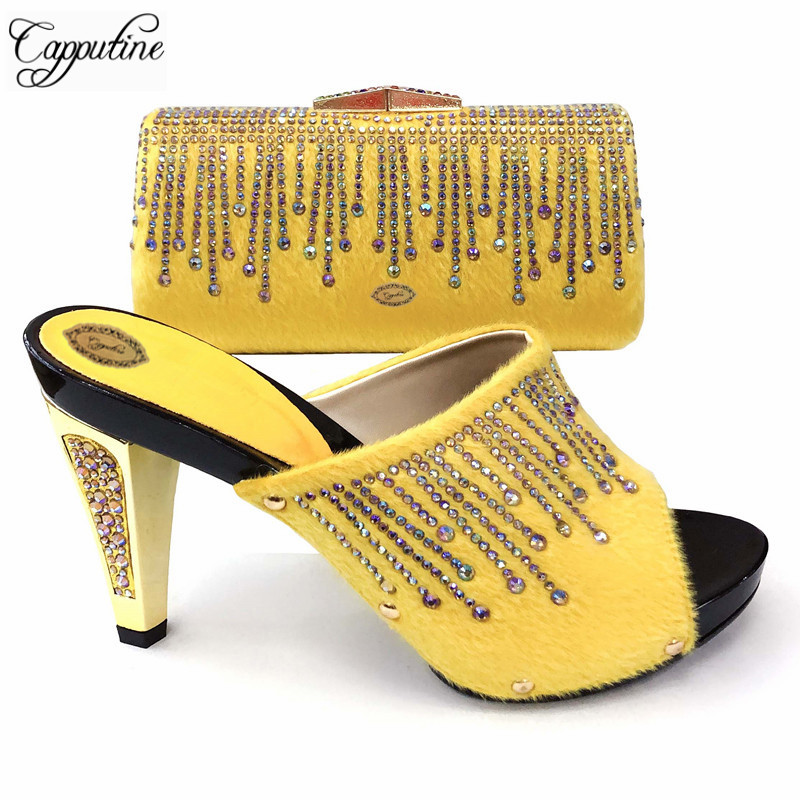 Capputine New Fashion Flock With Stone Woman Shoes And Bag Sets African Summer Spike Heels Pumps Shoes And Bag Set For Party Capputine New Fashion Flock With Stone Woman Shoes And Bag Sets African Summer Spike Heels Pumps Shoes And Bag Set For Party