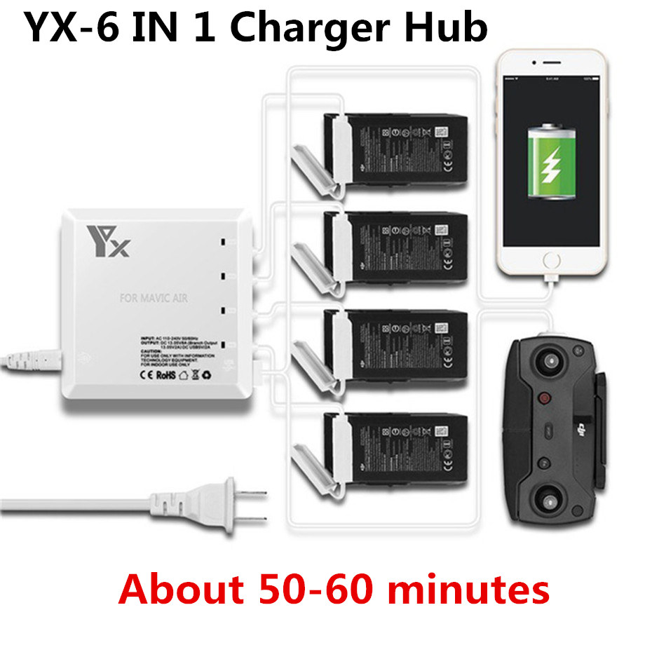 6 In 1 Multi Charger For DJI Mavic Air Drone Battery Charging Hub Intelligent Smart Battery Charger With USB Port For Controller