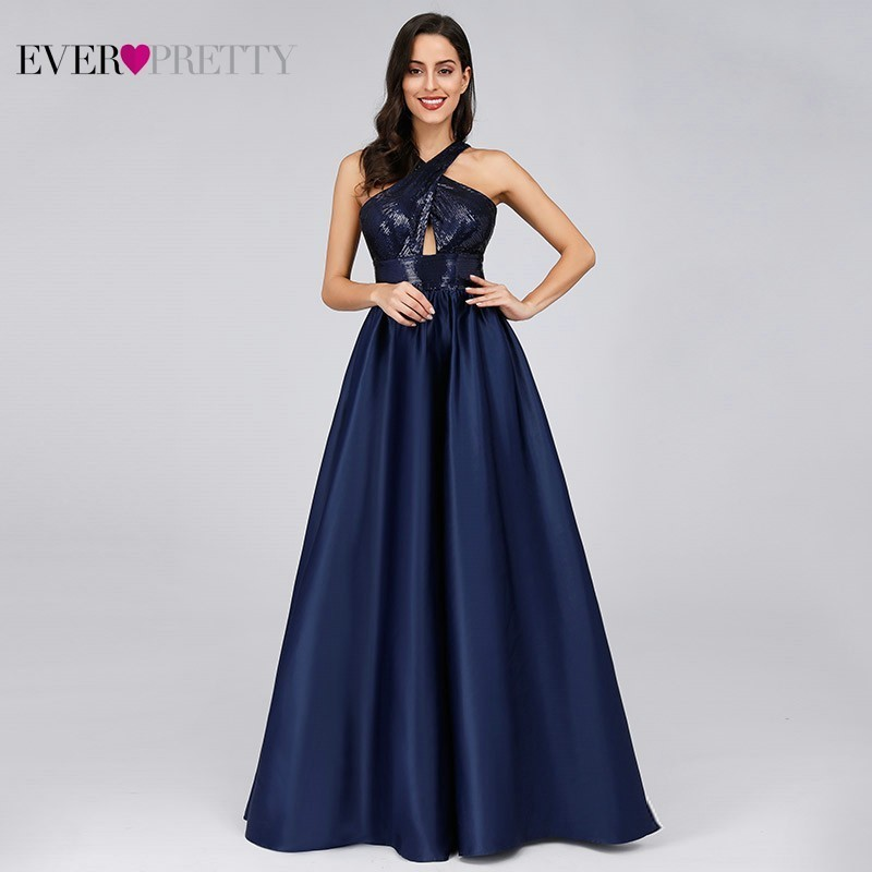 Sexy Sequined Long Evening Dresses 2019 Ever Pretty A Line Halter Backless Elegant Women Formal Dresses