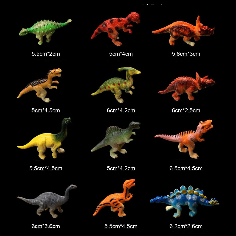 24 pcs Crianças Mini DIY Plástico Simulação Animal Dinossauro Jurassic Parque de Vida Selvagem Do Mundo Figura Modelo Brinquedos Educativos Conjunto com saco