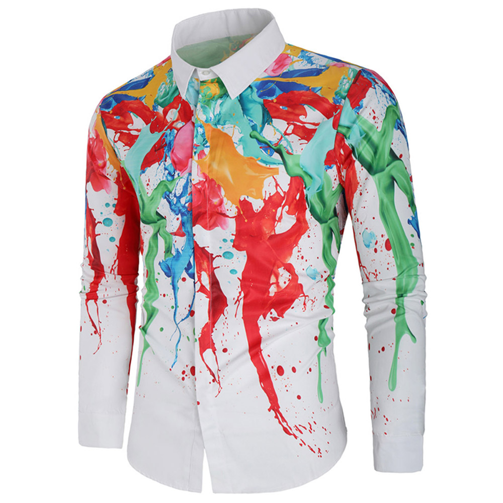 Hot Christmas Gifts 2019.Us 14 51 40 Off Hot Sale Long Sleeve Shirt Men Christmas Gifts For 2019 Year Colorful Paint Splatter Shirt Christmas Theme Button Up T Shirt Men In