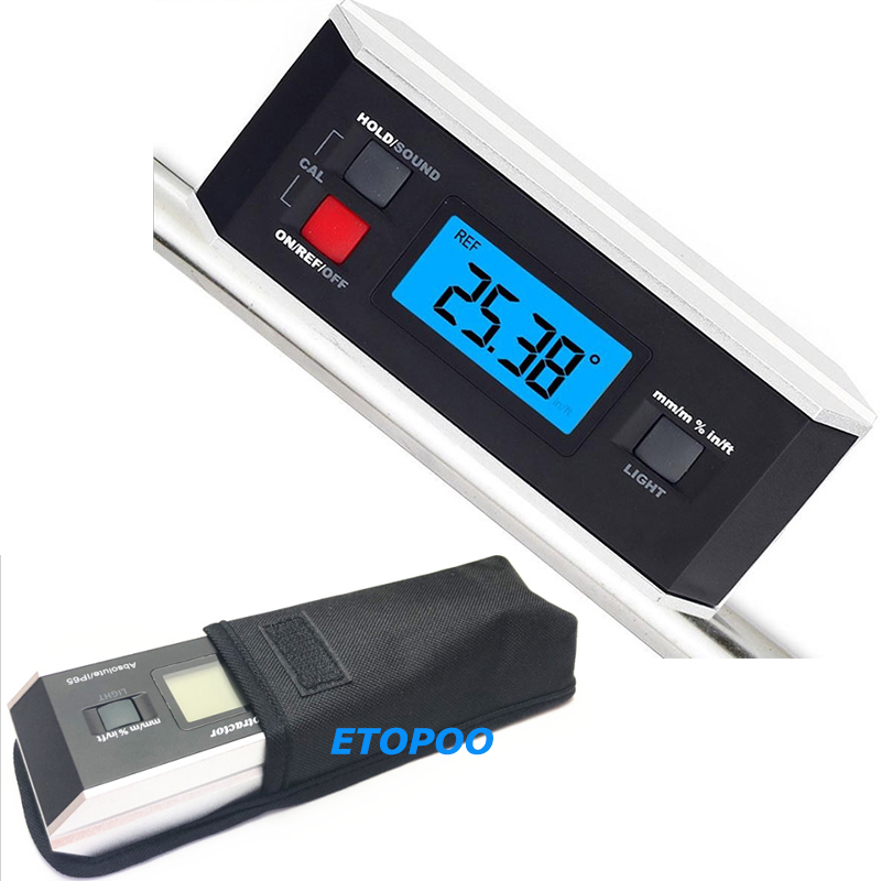 High quality IP65 Digital LCD Protractor Angle Finder Level Inclinometer Magnetic V Groove 0 360 Degree