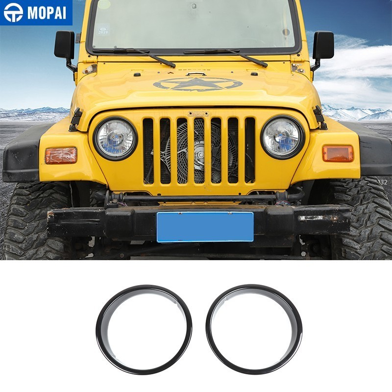 MOPAI Lamp Hoods For ABS Car Front Headlight Lamp Cover Decoration For Jeep Wrangler TJ 1997-2006 Car Accessories Styling