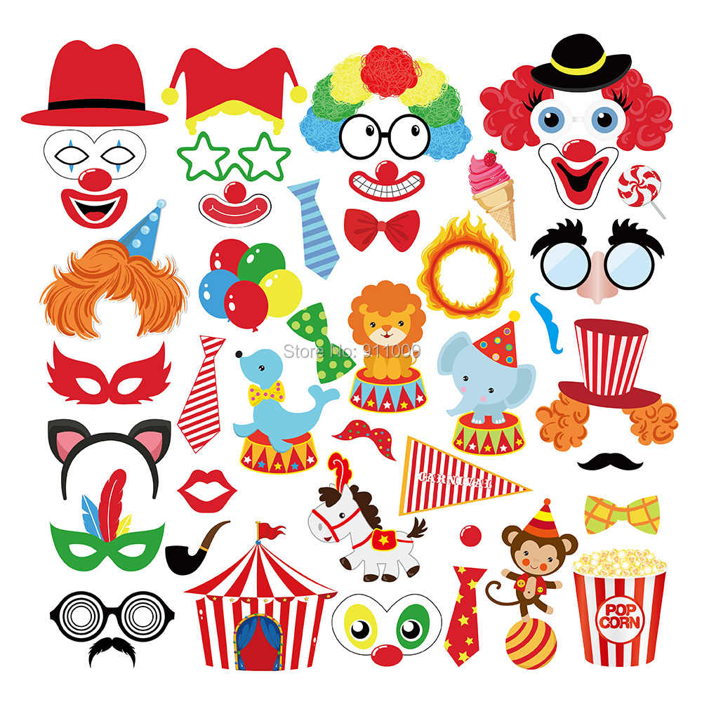 Carnival Theme Birthday Party Decoration Funny Clown Circus Photobooth Props Kids Party Decoration Photo Props Party Supplies