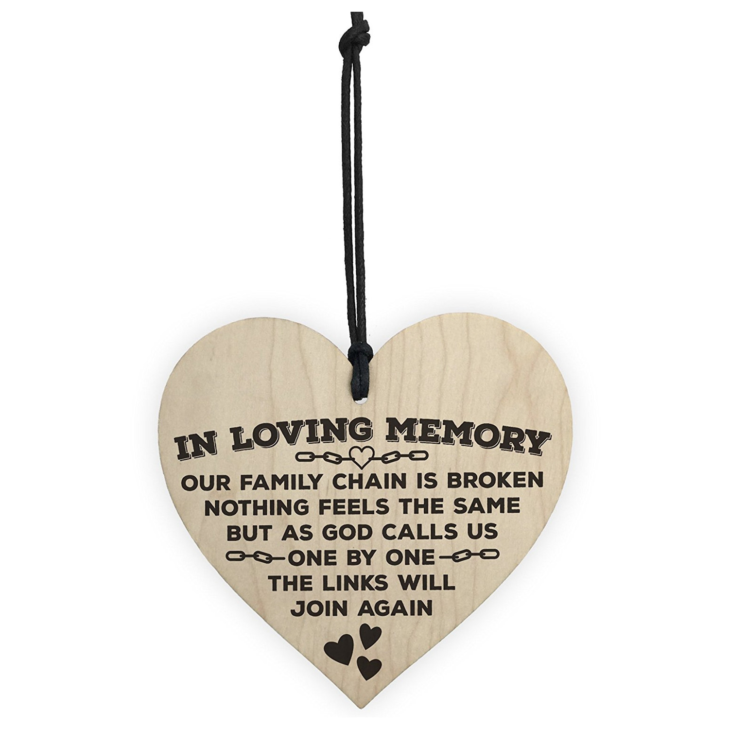 US $0 97 19% OFF In Loving Memory Of Family Wooden Hanging Heart Memorial  Plaque Love Heaven Sign black-in Plaques & Signs from Home & Garden on