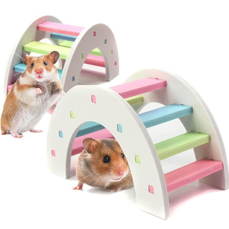 Hamster Colorful Ladder Toys For Small Animals Climbing Wood Rainbow Bridge Toy Accessories Hamster Pet Supplies