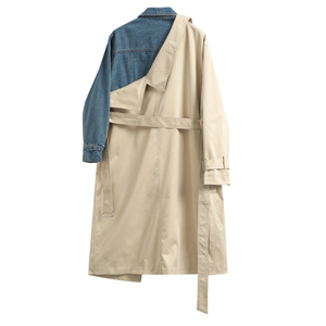 Image 3 - [EAM] 20120 New Spring Autumn Lapel Long Sleeve Khaki Hit Color Denim Stitcing Loose Sashes Windbreaker Women Fashion Tide JH638