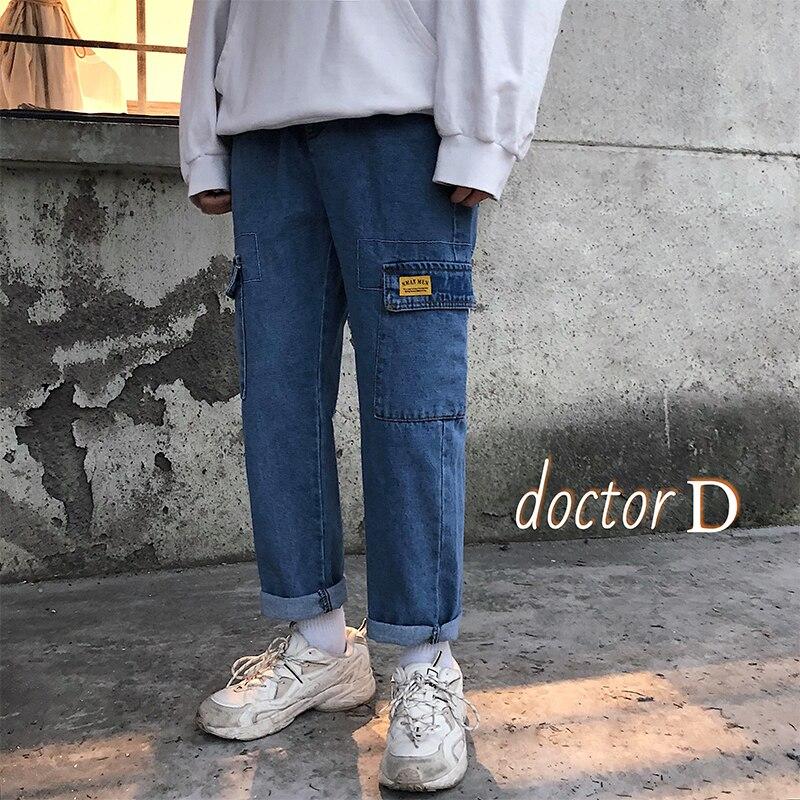 68bada90dc2 2019 Весенняя мода стиль сафари хлопок тренд прямые мужские джинсы Уличная  карманы облегающие мужские брюки M