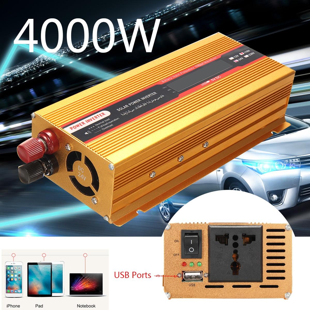 Auto Power Inverter 12/24 v Zu AC 220/110 v Spitzen 4000 watt USB Modifizierte Sinus Welle konverter Überlast Schutz Spannung Transformator