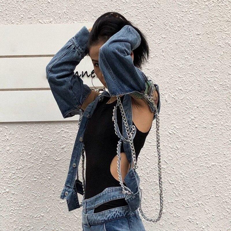 Deuxtwinstyle mode chaînes Patchwork Denim femmes veste revers à manches longues bouton évider dos nu manteau femme été 2019 - 4