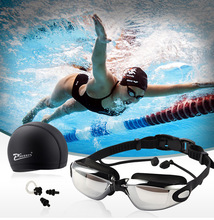 4pcs/set Swimming Goggles HD  Spectacles plating lens Nearsighted Swim P25