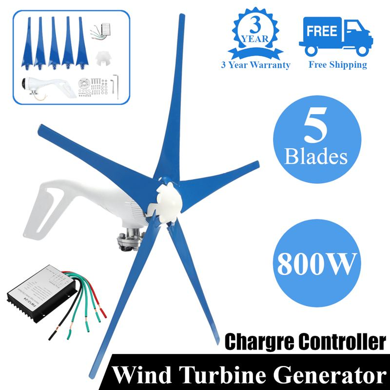 Vent pour Turbine Generator3/5 pales de vent Option 800 W contrôleur de vent cadeau adapté pour la maison ou le Camping + accessoires de montage sac