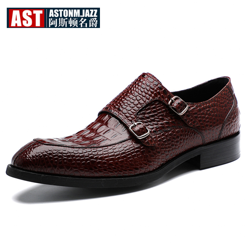 Big Size 11 12 Elegant Buckle Leather Oxfords Emboss Formal Dress Shoes Men Hight End Wedding Shoes Crocodile Grain in Formal Shoes from Shoes