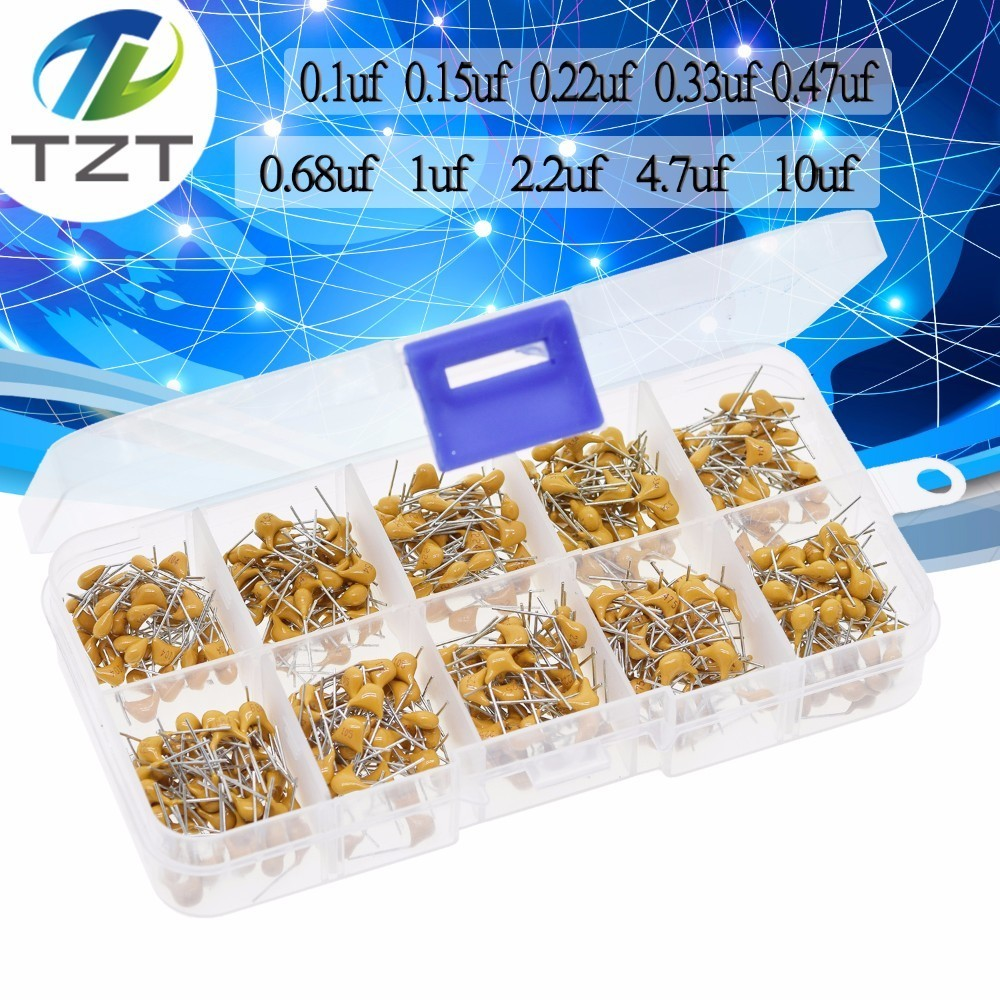 500 pcs 10 Values 0.1uF~10uF 50V Ceramic Capacitor Assorted Kit with Box