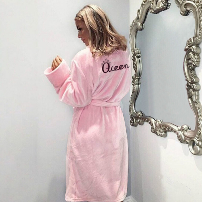 Christmas Queen Letter Flannel Winter Warm Sleep Robes Fluffy Pajama Sets Women's Long Bath Robe Bathrobe Dressing Gown Robes