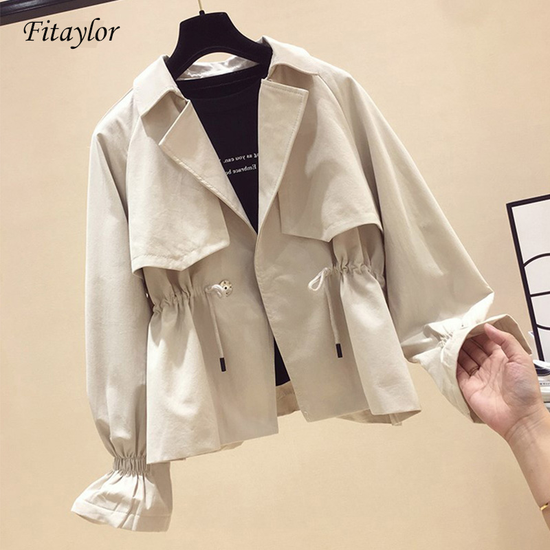 Fitaylor 2019 New Autumn Women   Trench   Coat Windbreaker Outerwear Female Casual Slim Sash Tie Up Short   Trench   Coat