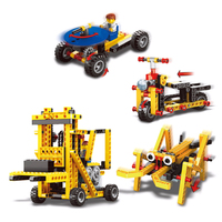 New 4 in 1 DIY Mini Particles Power Machinery Forklift Model Building Block Planset Assembling Intelligent Toys for Children