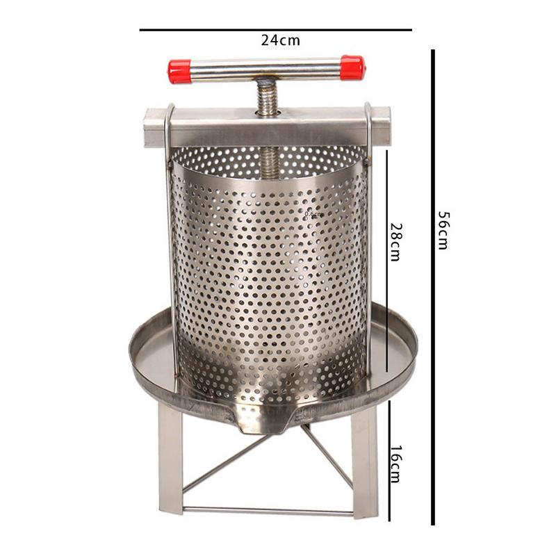 Novo manual do agregado familiar de aço inoxidável mel presser cera imprensa apicultura ferramenta jardim fornecimento - 6