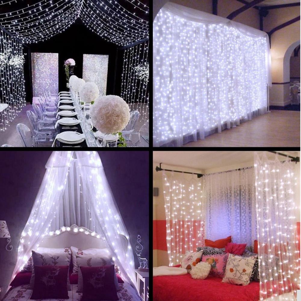 Outdoor Connectable 3x3m Led Wedding String Lights Led Fairy Lights Christmas Garland Garden Party Wedding Decorative Lights
