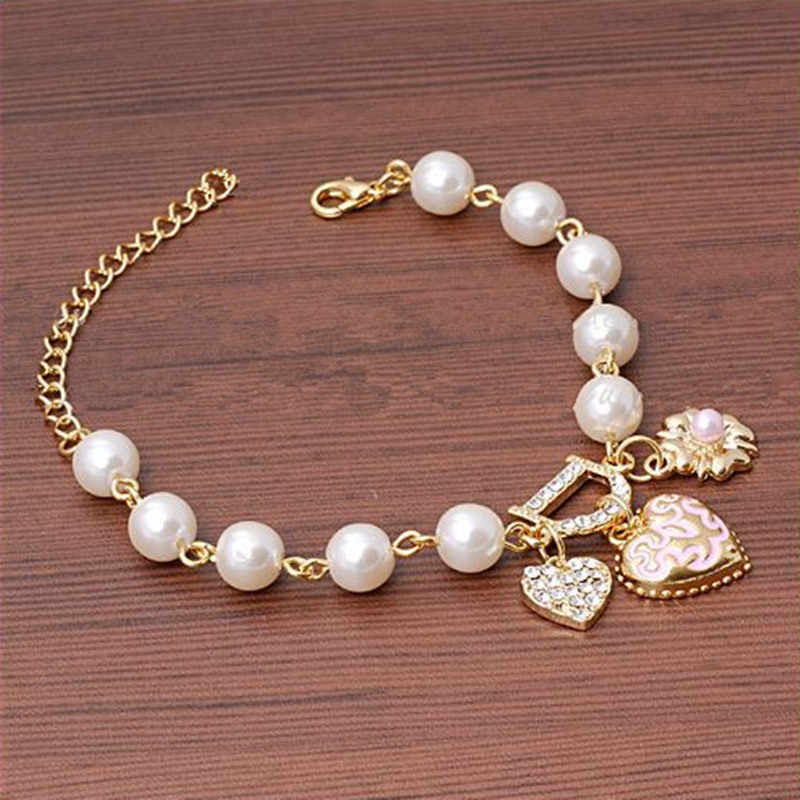 Hot Fashion Unlimited Bangle Bracelets Charm Heart Flower Simulated Pearl Crystal D Word Beaded Bracelet For Women Jewelry 2019
