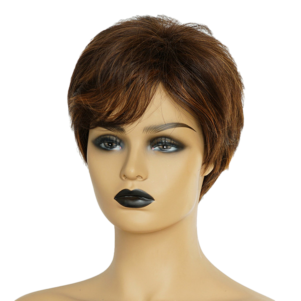 8'' Natural Short Straight Wigs Human Hair Pixie Cut Wig for Women Cosplay Wigs w/ Side Bangs Mixed Brown fashion short boutique side bang curly chestnut brown synthetic capless wig for women