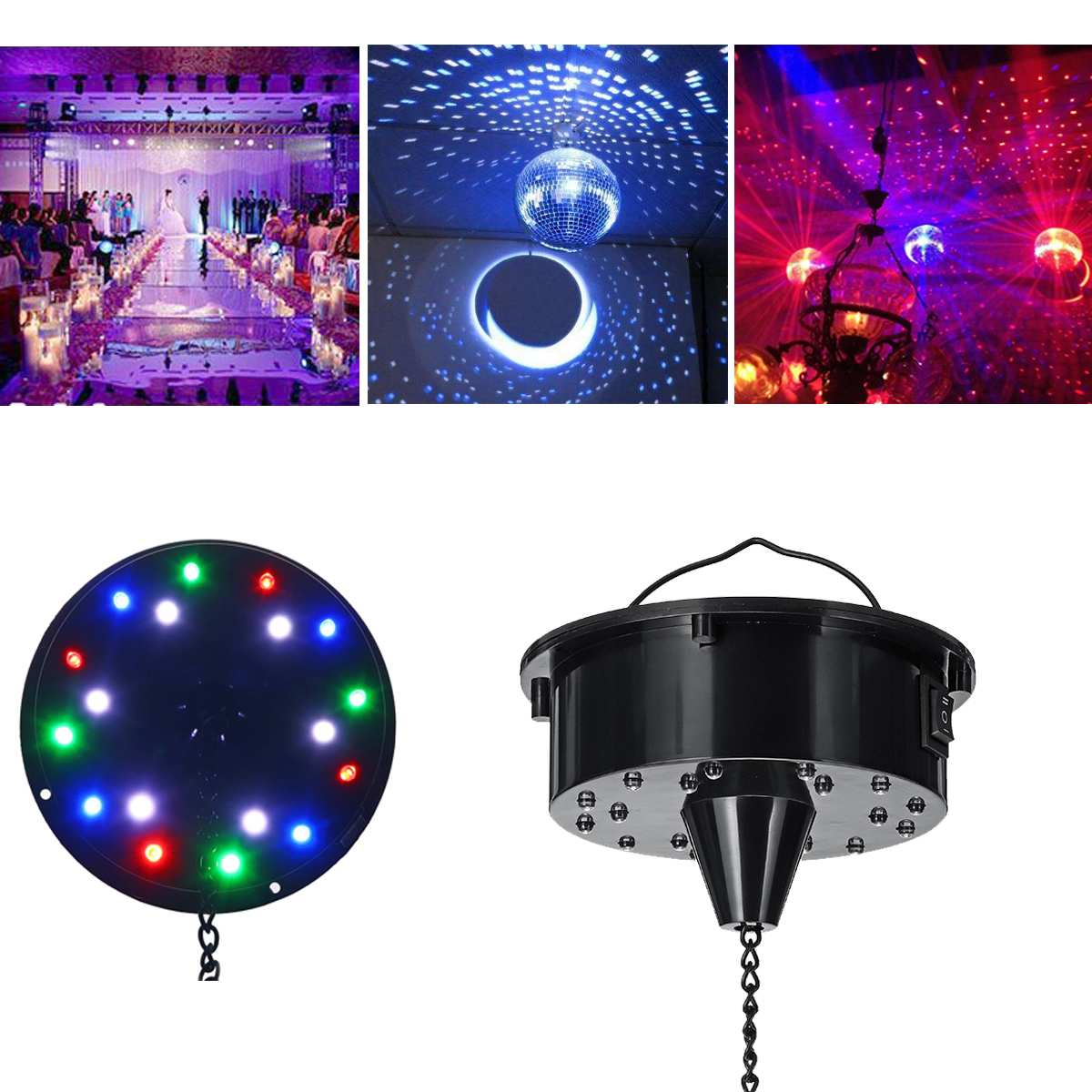 18 LED Lights Glass Rotating Mirror Disco Ball Motor Sound Control Mirror Reflection Ball Hanging For Disco DJ Party  Light
