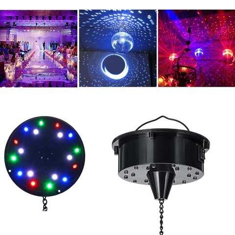 bola de vidro com 18 luzes led espelho rotativo para disco controle de som espelho