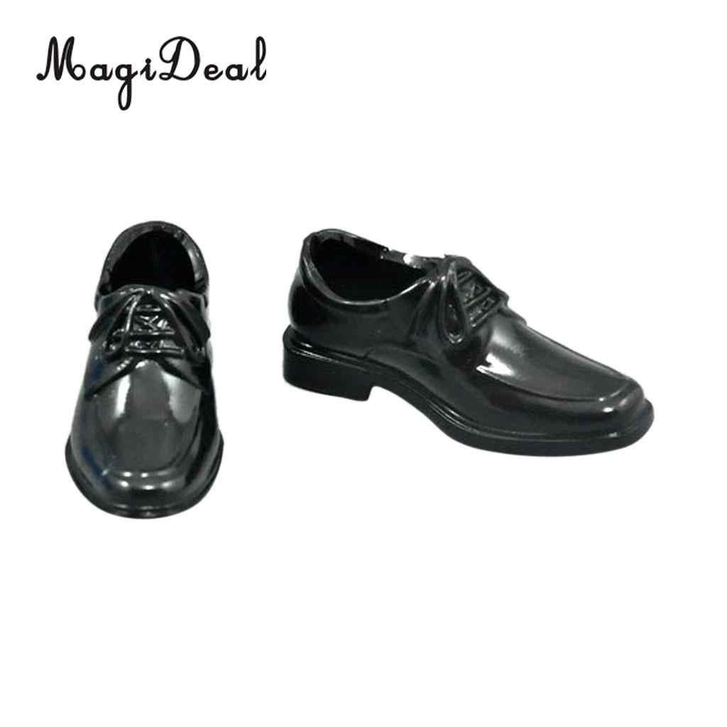 1 Paar Zwart 1/6 Lace Up Hoge Top Jurk Schoenen Voor 12 Inch Mannelijke Action Figure Body Poppen Dagelijkse Slijtage acc 5 Cm