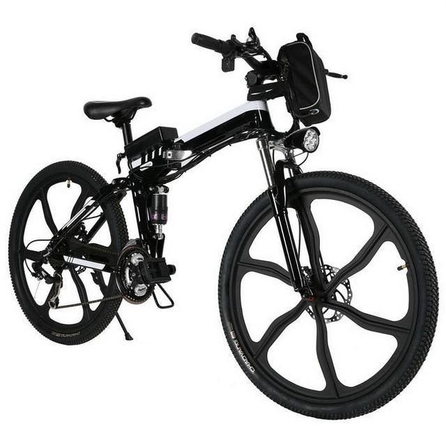 26inch  Black Mountain Bike Foldable Electric Power Mountain Bicycle Aluminum Alloy Bicycle Battery Outdoor