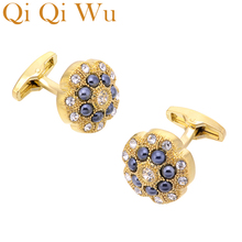 Qi Wu Luxury Gold Cufflinks for Mens Wedding Favor French Shirt Cuff Buttons Men Golden Arm links Christmas Gifts Cuffs