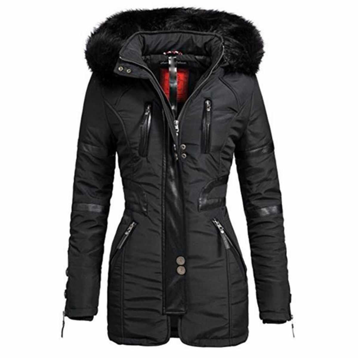 55595639409 Женская длинная куртка пальто черные зимние парки с капюшоном на молнии  теплые ветрозащитные черные готические тонкие