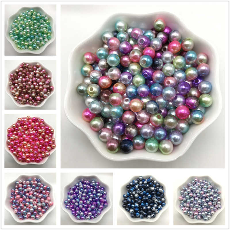 4/6/8/10mm Imitation Pearls Rainbow Acrylic Beads Round Pearl Spacer Loose Beads DIY Jewelry Making