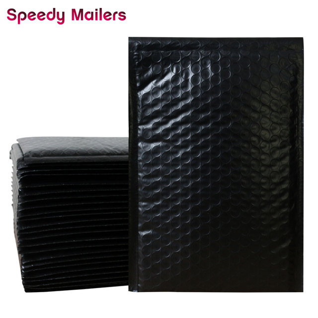 Speedy Mailers 10pcs/6x9-Inch/175x230mm Black Poly Bubble Mailer Self Seal Padded Envelopes/Black Plastic Bubble Mailing Bags