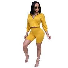 Модный женский Повседневный Одноцветный спортивный костюм из 2 предметов с рукавом три четверти, толстовки на молнии, топы и шорты, комплекты спортивной одежды