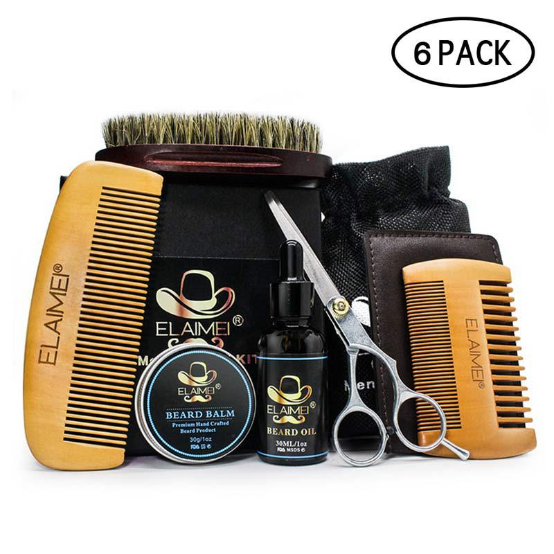 Beard Clean Set Trimming Kit With Essential Shampoo Brush Comb Oil Cream Scissors for Men Cleanse Refresh Grooming Perfect Gift-in Shaving Brush from Beauty & Health