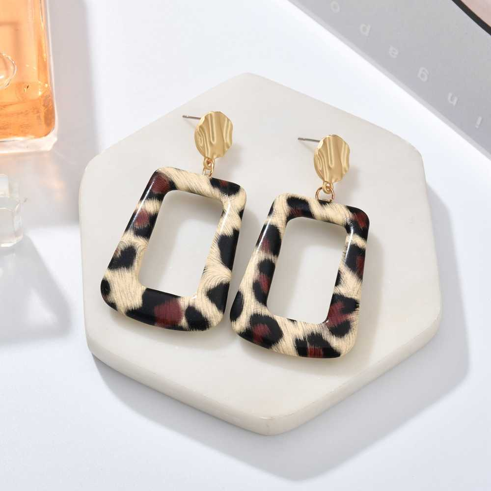 MESTILO 2019 New ZA Pu Leather Earrings For Women Fashion Geometric Matted Gold Multi Color Leopard Long Drop Earring Jewelry