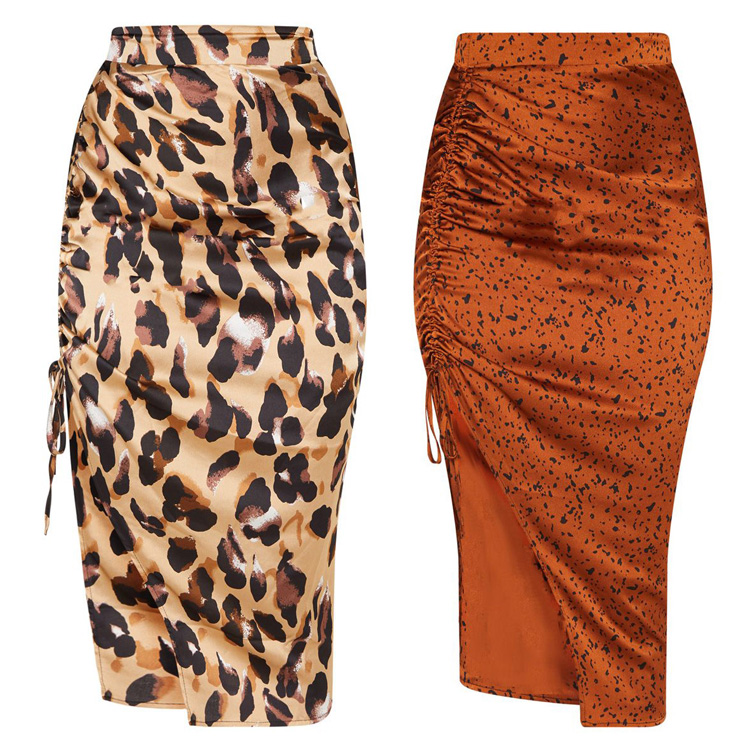 Sexy Leopard Skirts Women High Waist Side Split Lace Up Bodycon Skirt Female Fashion Clothes Womens Skirt