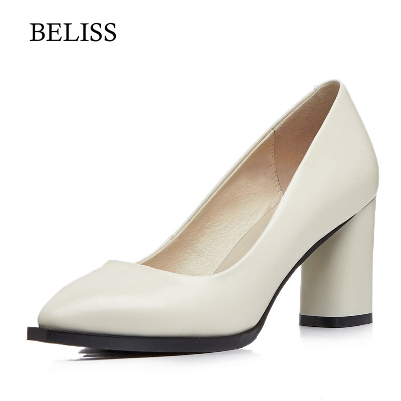 BELISS 2019 New Fashion Pumps Women Shoes Genuine Leather Pointed Toe Party Office Woman Slip On Spring Summer Elegant D6