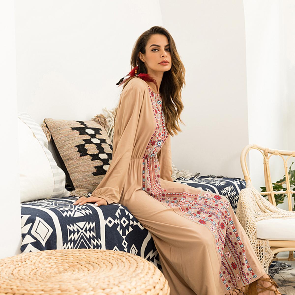 Image 2 - Stylish Muslim Abaya Print Maxi Dress Long Sleeve Long Dress  Ethnic Kimono Dresses Ramadan Middle East Arabic Islamic  ClothingIslamic Clothing